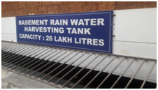 RWH from Lecture blocks - 26 lakh liter capacity, storage tanks at the rear side of the building