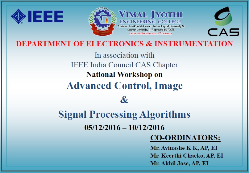 National Workshop on Advanced Control, Image and Signal Processing Algorithms