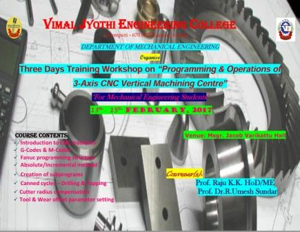 "Three Days Training Workshop on ""Programming and Operations of 3-Axis CNC Vertical Machining Centre"""
