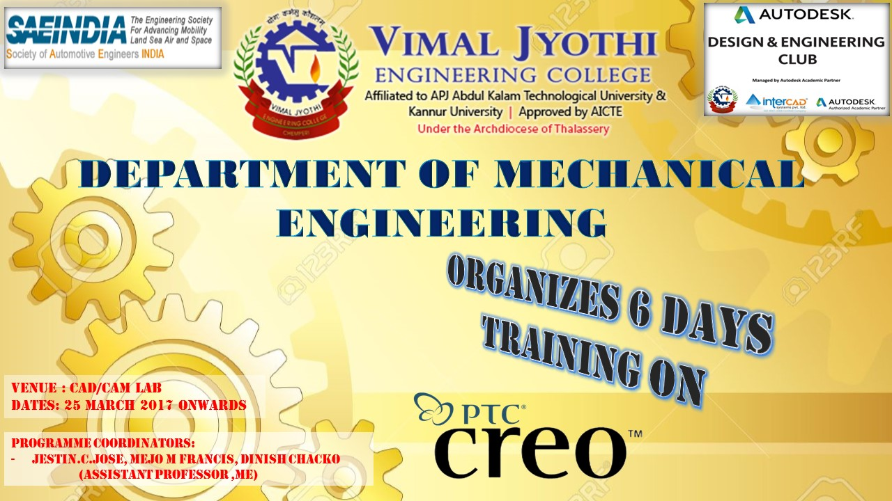 BANNER ON 6 DAYS TRAINING ON CREO SOFTWARE