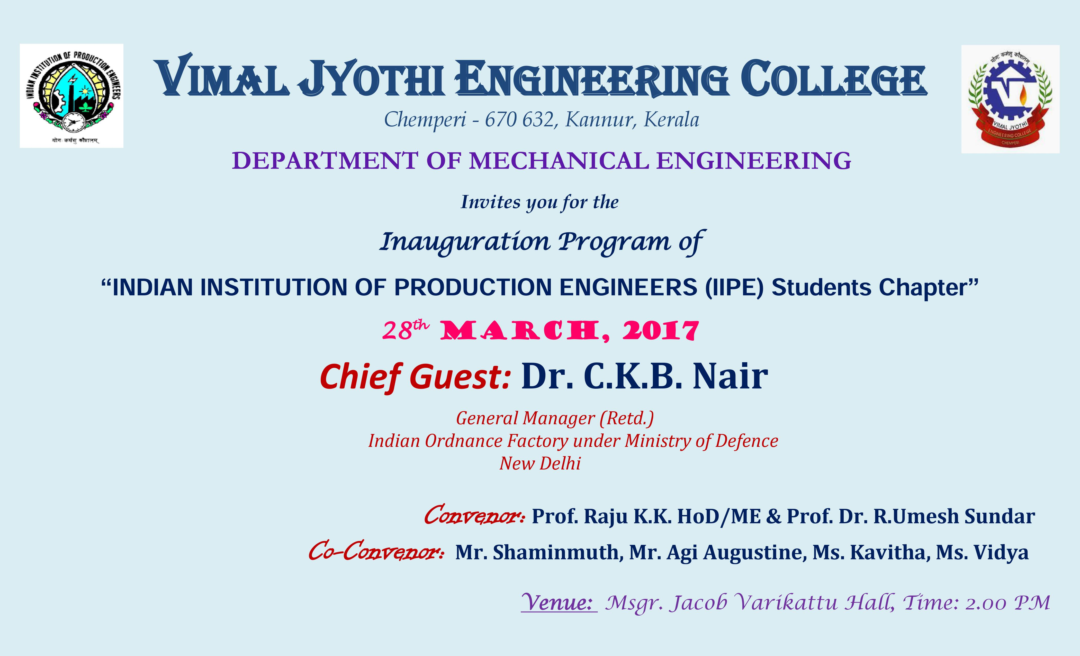 Inauguration of IIPE - Student Chapter