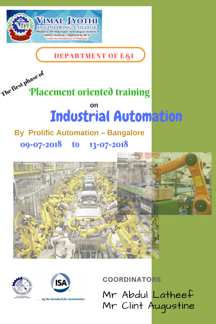 Placement oriented training on Industrial Automation by  Prolific Automation – Bangalore
