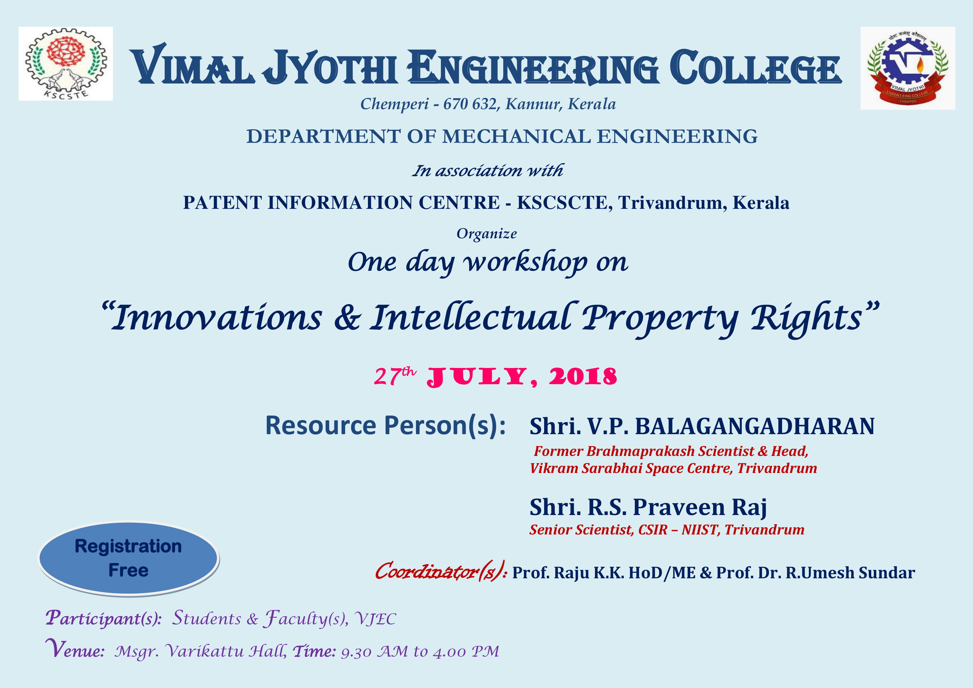 "One day workshop on  ""Innovations & Intellectual Property Rights"""