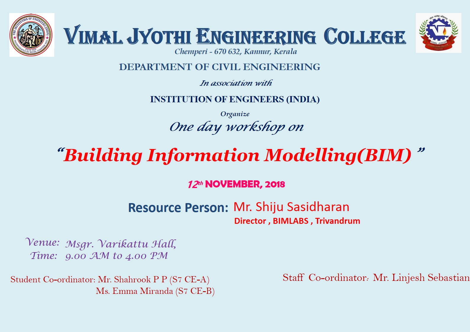 One day workshop on BIM on 12.11.18