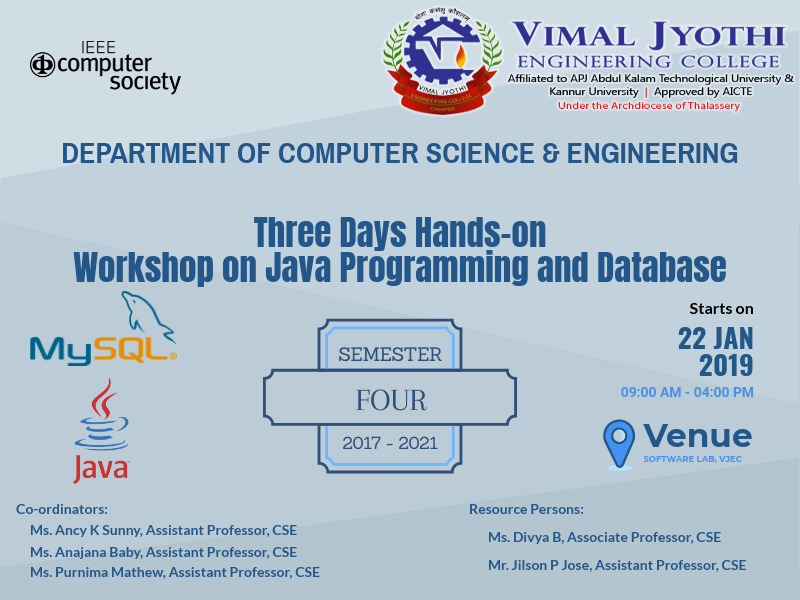 Three Days Hands-on Workshop on Java Programming and Database