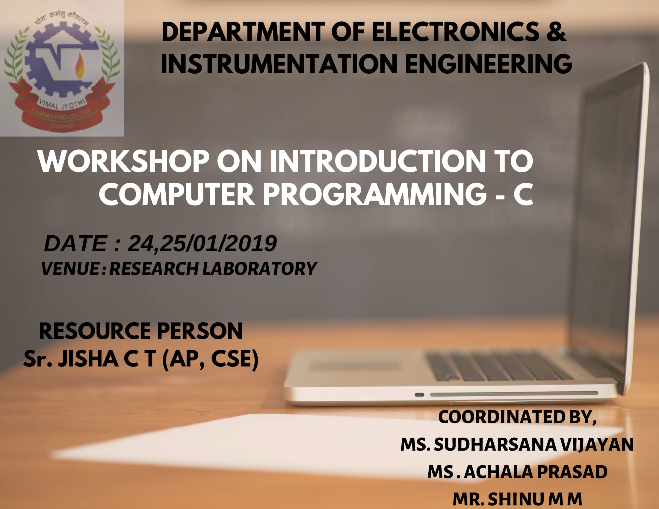 WORKSHOP ON INTRODUCTION TO COMPUTER PROGRAMMING - C
