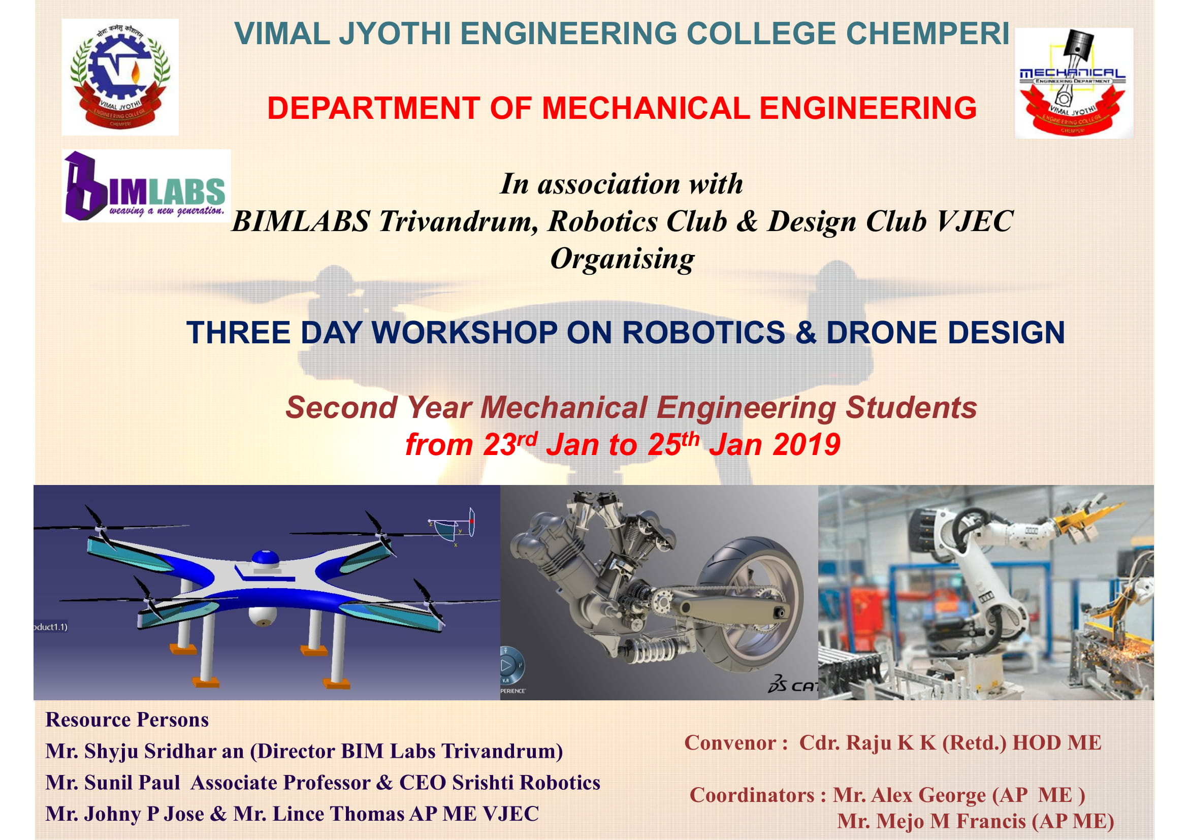 THREE DAY WORKSHOP ON ROBOTICS & DRONE DESIGN