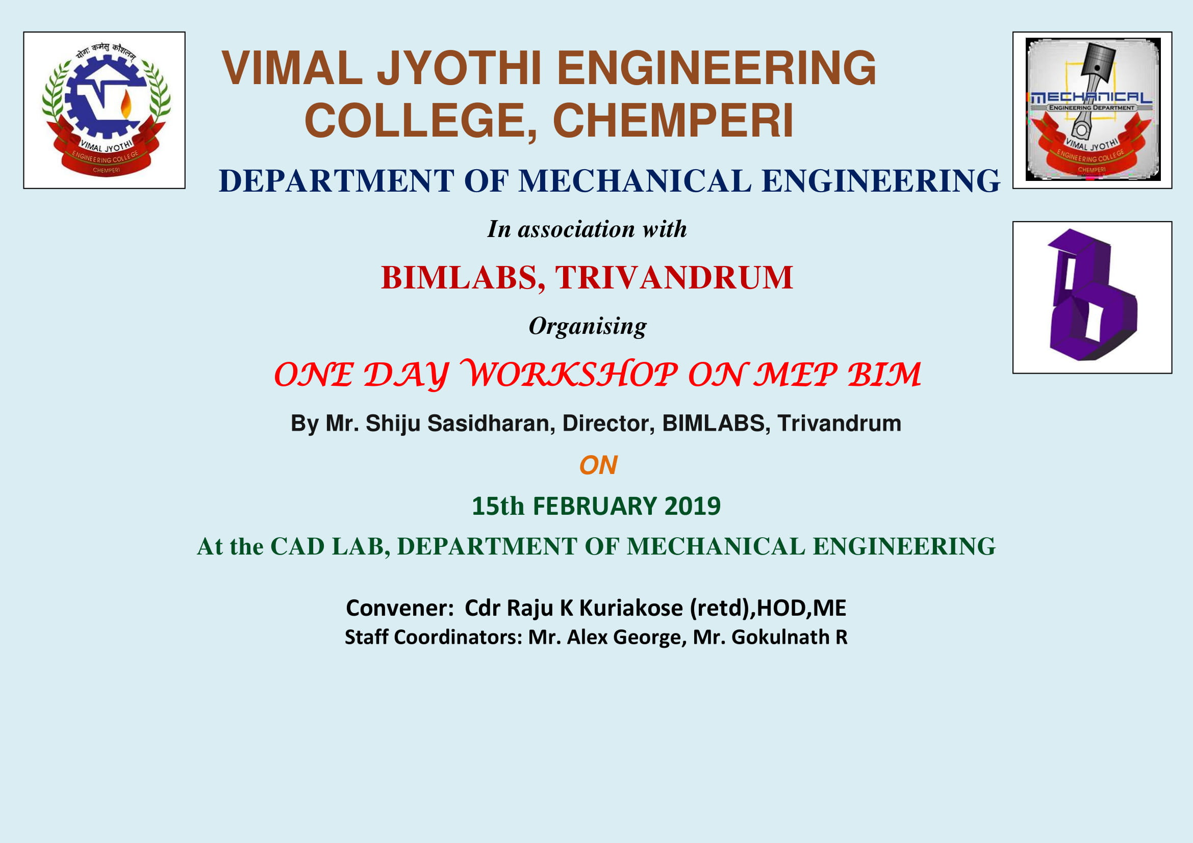 ONE DAY WORKSHOP ON MEP BIM on 15-02-2019