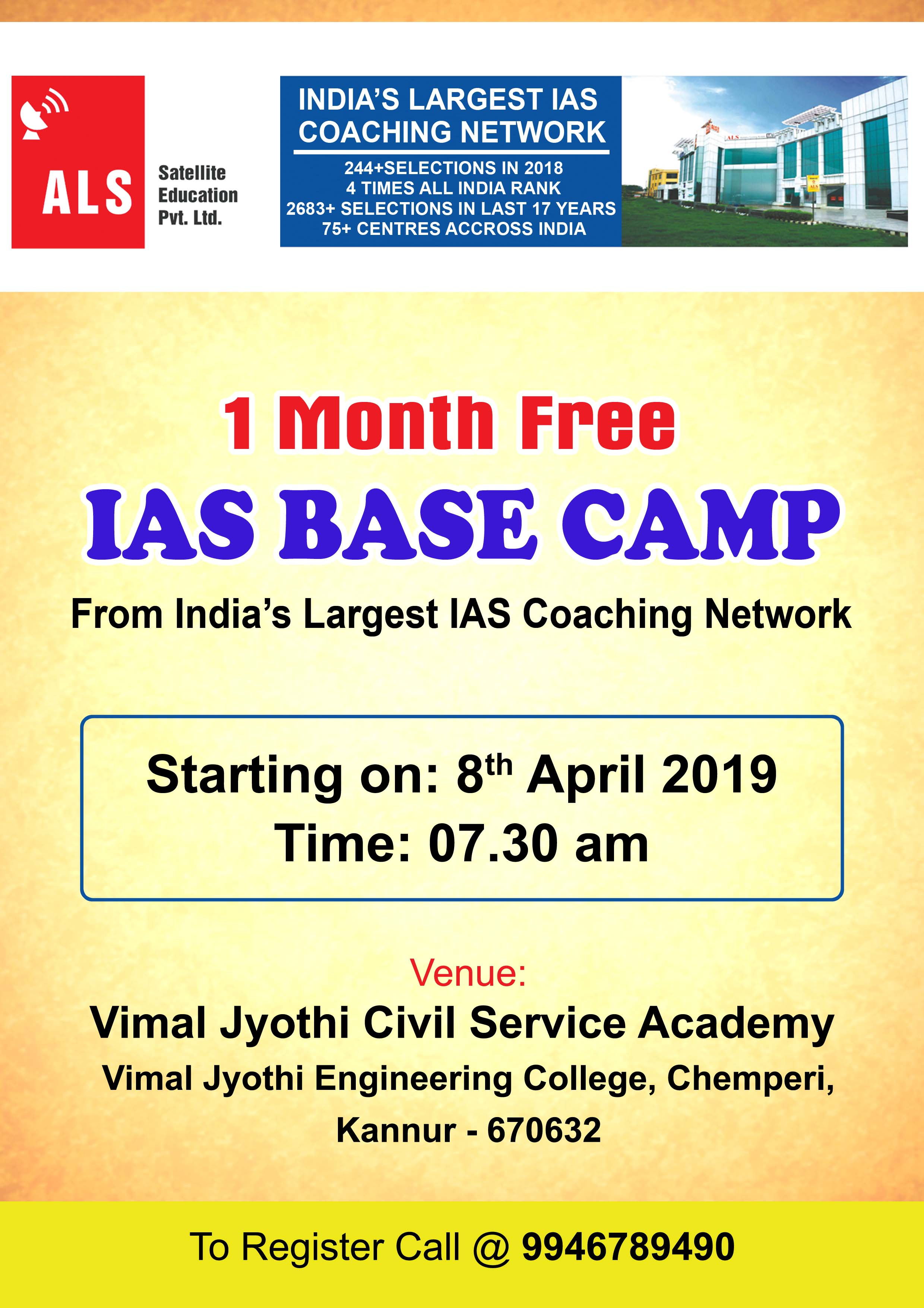IAS FREE BASE CAMP -starting on 8th April